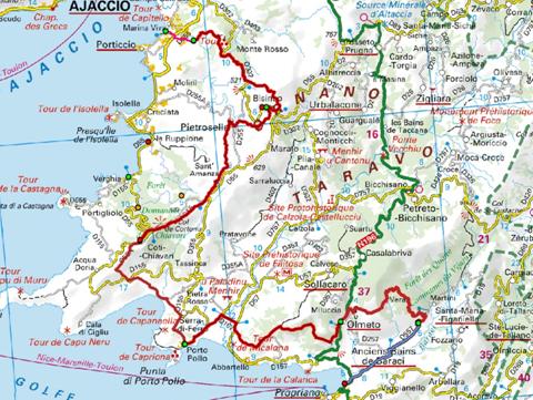 Carte Corse Ajaccio Porticcio.Le Sentier Mare E Monti Sud Gite Corse A Funtana